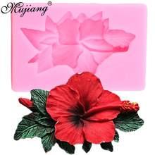 Mujiang ローズボーダーシリコーン葉フォンダンモールドハイビスカスの結婚式のケーキデコレーションツールキャンディ粘土チョコレート Gumpaste 金型