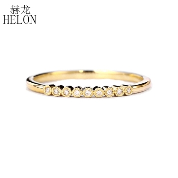 HELON Moissanite Ring Solid 10K Yellow God VVS/DEF Color Test Positive Moissanite Diamond Engagement Wedding Ring Women Jewelry image