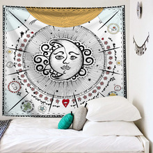 Tapestry Wall Hanging Sun Moon Tarot Carpet Psychedelic Tapiz Witchcraft Cloth India Mandala Tapestries
