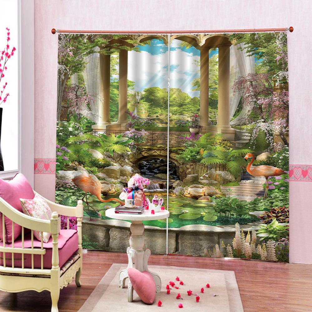 Paysage européen pastorale personnalisé 3D rideaux pour chambre enfants salon rideaux tissu