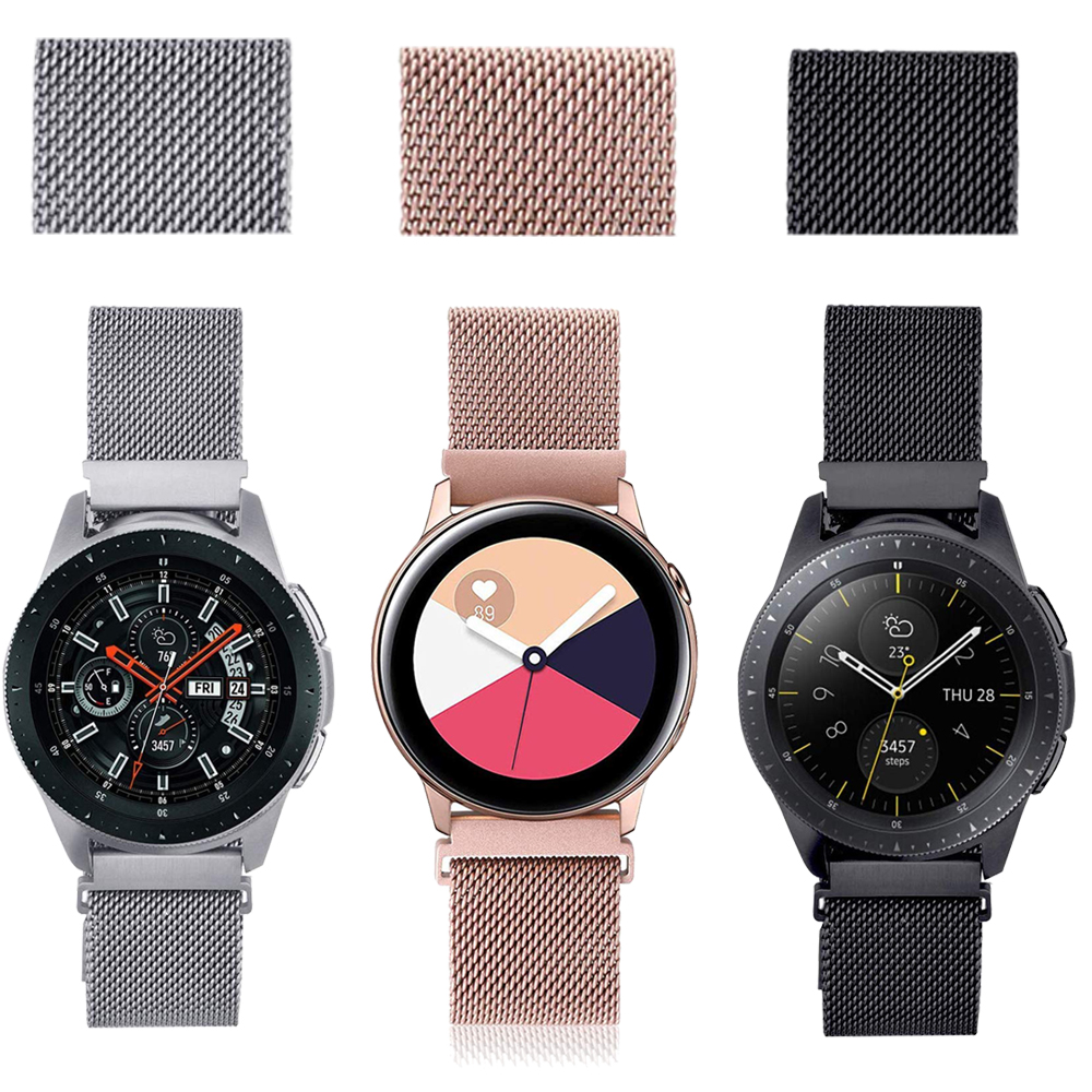 20mm Watch Band Replacement For Samsung Galaxy Watch (42mm)/Galaxy Watch Active/Active2 Bands Stainless Steel Mesh Loop Bracelet