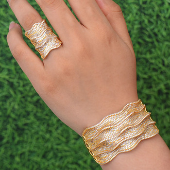 Zlxgirl jewelry Classic Dubai gold bangle with ring jewelry sets women big size cubic zircon bangle bracelet bijoux sets