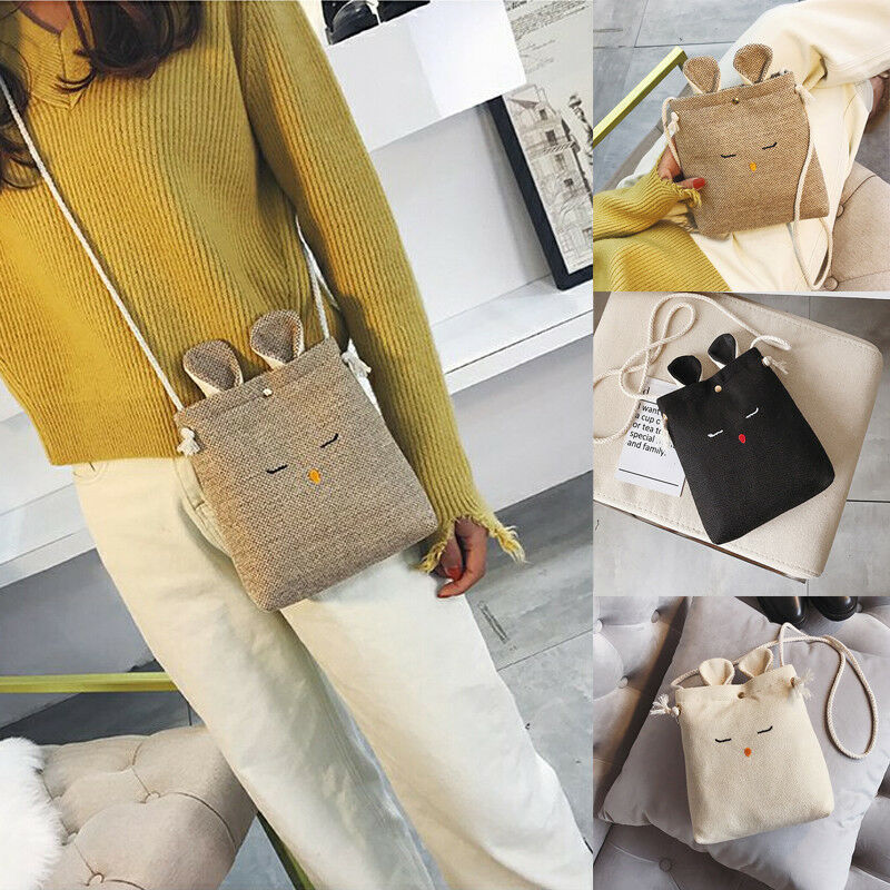Single Shoulder Creative Lovely Rabbit Handbags Women Environmental Protection Fabric Linen Pure-color Casual Occasion Handbags