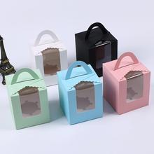 10 шт. прозрачное окно один кекс десерт хранения коробки маффины пирожные контейнеры с ручкой