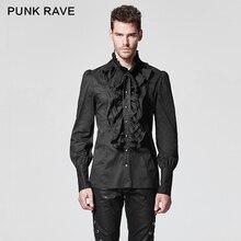 PUNK RAVE Gothic Ruffles Turn down Collar Man Shirt Single Breasted Dark Grain Horn Long Sleeve Blouses  Retro Victorian Cotton