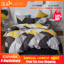 Alanna HD ALL juego de cama de moda Algodón puro A/B patrón de doble cara simplicidad sábana de cama, funda de edredón funda de almohada 4 7 Uds