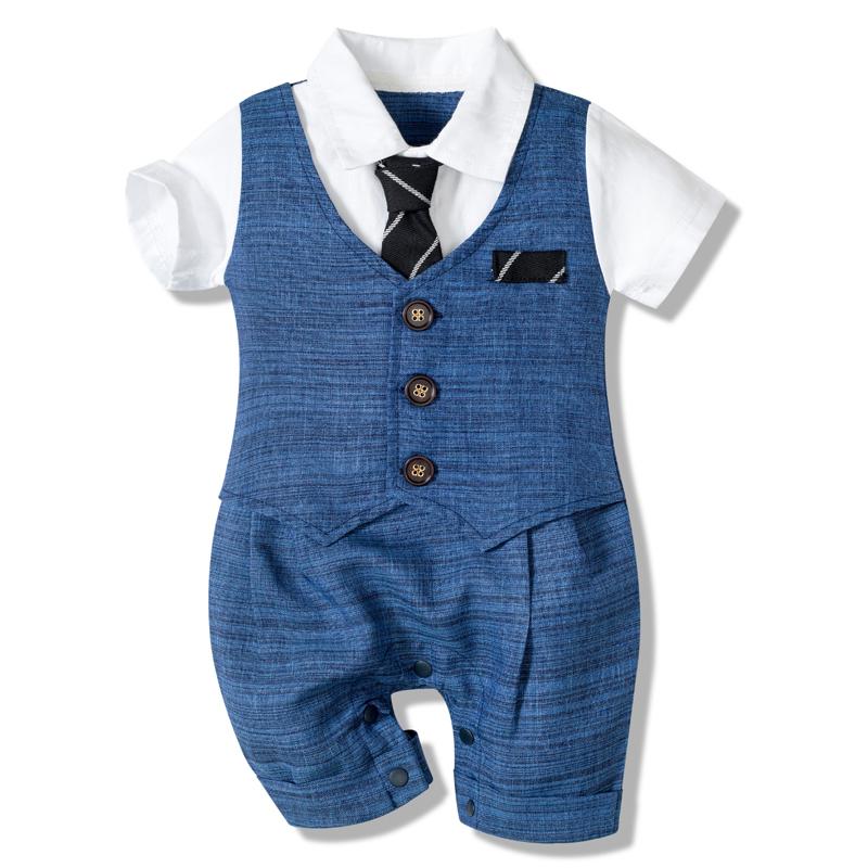 Baby Boy Clothes Cotton Handsome Rompers Little Gentleman Tie Outfit Newborn One piece Clothing Button Jumpsuit Party Suit Dress