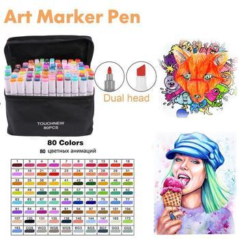 TOUCHNEW Graphic Marker Pen 80/168 Colors Marker Pens Dual Tip Permanent Marker Pens with Black Bag Blender Fineliner Marker Pad цена 2017
