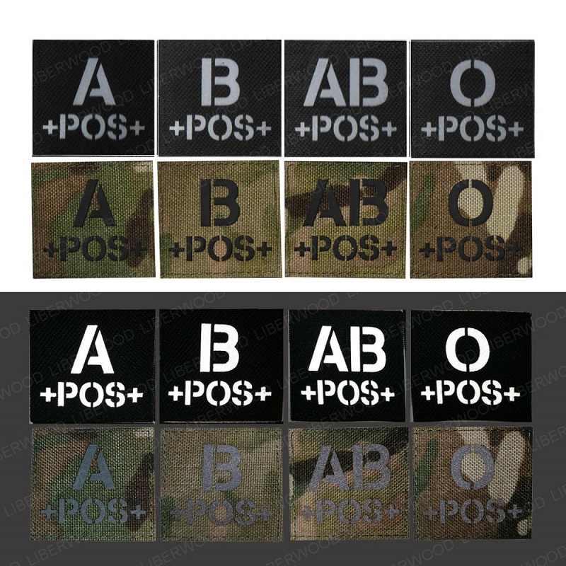 Krew typu A + B + O + AB + POS pozytywna naszywka na podczerwień do plecaków płaszcz taktyczny morale patch odblaskowa naklejana etykieta z haczykiem