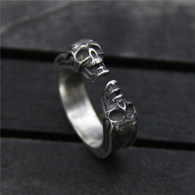 ORIGINAL 925 STERLING SILVER RETRO SKULL RINGS