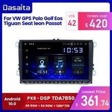 "Dasaita 9 ""IPS מסך 1 דין רכב רדיו אנדרואיד 10 Carplay עבור פולקסווגן GPS פולו גולף Eos Tiguan מושב ליאון פאסאט רכב סטריאו TDA7850"