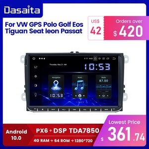 "Image 1 - Dasaita 9"" IPS Screen 1 Din Car Radio Android 10 Carplay for VW GPS Polo Golf Eos Tiguan Seat leon Passat Car Stereo TDA7850"