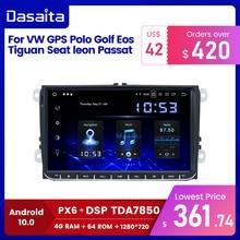 """Dasaita 9 """"pantalla IPS 1 Din Car Radio Android 10 Carplay GPS para VW Polo Golf Eos ASIENTO DE Tiguan leon Passat estéreo de coche TDA7850"""