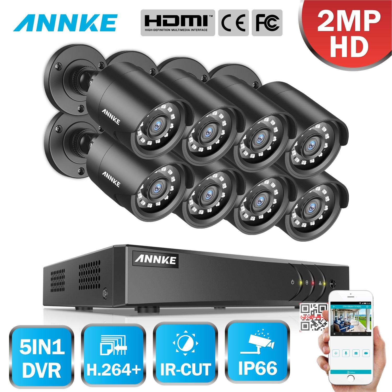 ANNKE 1080P FHD 5in1 8CH Lite H.264+ DVR HD TVI Smart IR Bullet Weatherproof Cameras Security Surveillance CCTV System