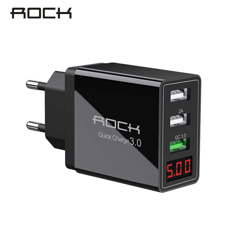 Rock 30W Quick Charge 3.0 USB Ponsel Charger LED Display untuk iPhone Xiao Mi Mi 9 Huawei P30 Pro Samsung cepat Adaptor Dinding Turbo