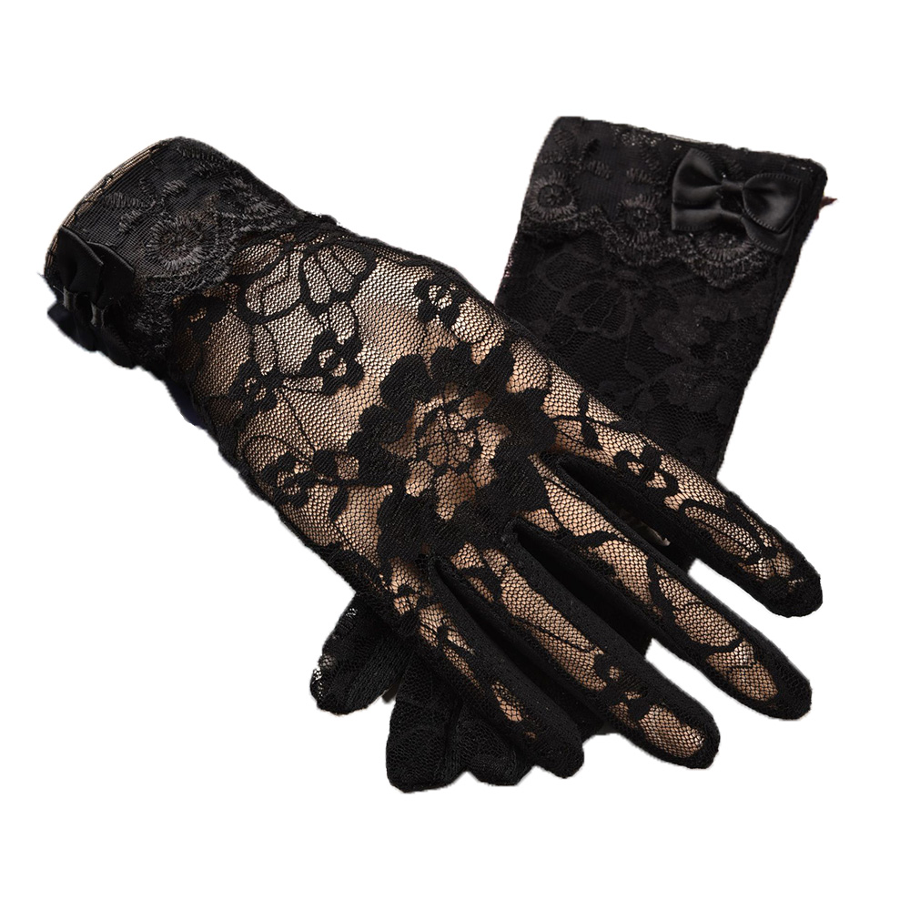 Spring Summer Ladies Non-slip Lace Finger Gloves Outdoor Bow Touch Screen Sunscreen Gloves Full-finger Gloves