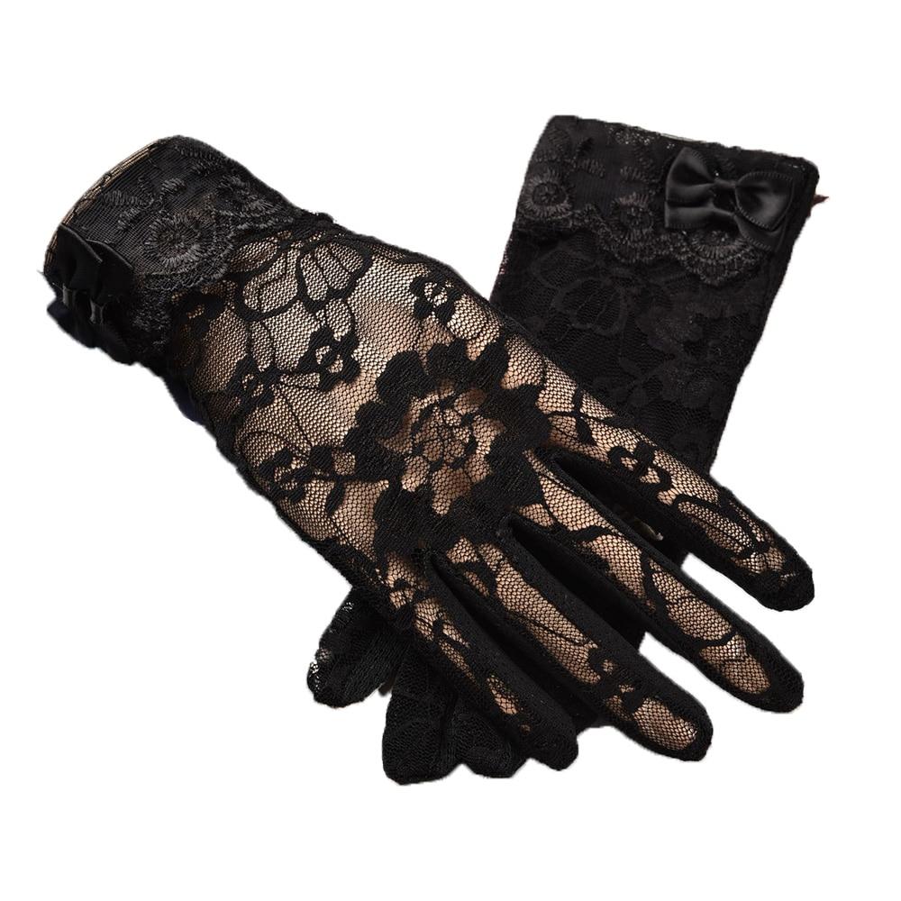 Spring Summer Ladies Non-slip Lace Finger Gloves Outdoor Bow Touch Screen Sunscreen Gloves Full-finger Gloves