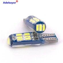 100 Uds T10 W5W 194 bombillas LED de coche 12V 12V 3014 15 SMD de silicona blanca Auto luces de tronco luz Interior para estacionamiento lámpara de techo de lectura bombilla