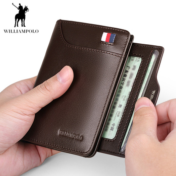 цена на POLO Men Wallet mens slim Credit Card Holder Bifold Genuine Leather mini Multi Card Case Slots Cowhide Leather Wallet New