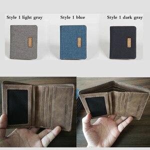 Фирменные мужские бумажники, 3 цвета, 2 стиля, холщовые, для кредитных карт, повседневные мужские кошельки, хлопковые, льняные, короткие, прак...