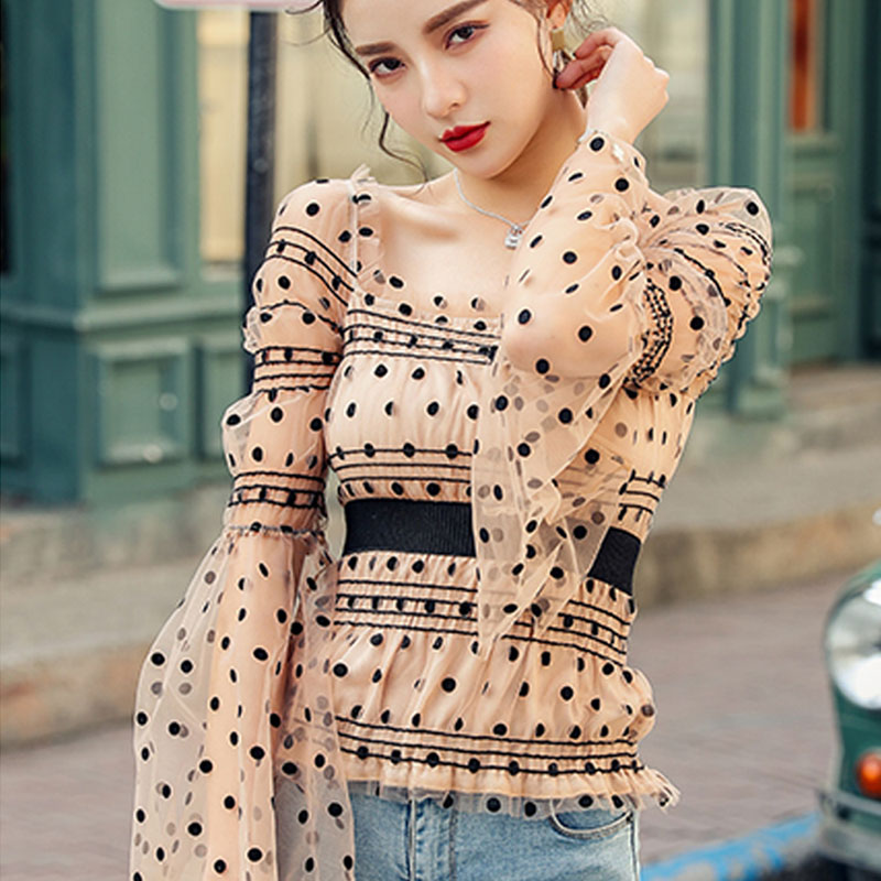 Spring New Fashion Casual Long Sleeve Womens Tops Blouses Slim Mesh Flare Sleeve Sexy Dot Lace Women Word Shoulder Shirts Female