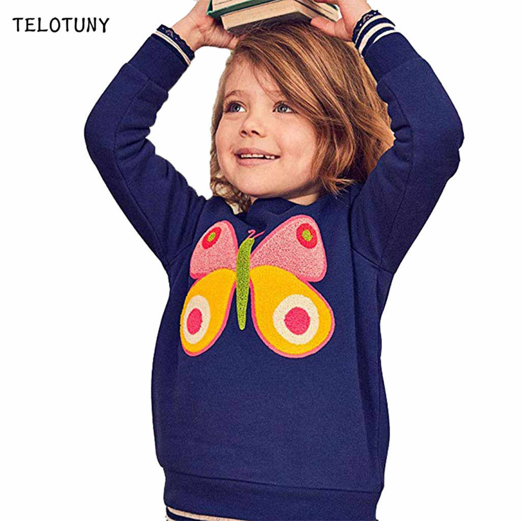 TELOTUNY Kids Boys Girls Sweatshirts Hooded Pullover Warm Tops Sweatsuit Long Sleeve Cartoon Print Toddler Hoodie Blouses L0731