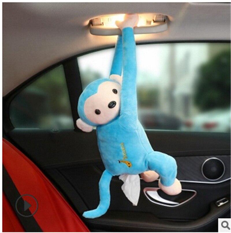 Креативный мультфильм обезьяна Вынимаемые салфетки коробки портативный домашний офис Авто Подвесная коробка из ткани покрытие полотенце Организация держателей - Цвет: Синий