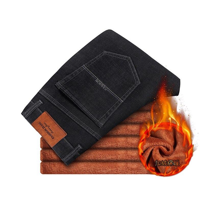 2019 CHOLYL  New Men Warm Jeans High Quality Famous Brand Winter Denim Jeans Thicken Fleece Men Jeans Long Trouser 28-40