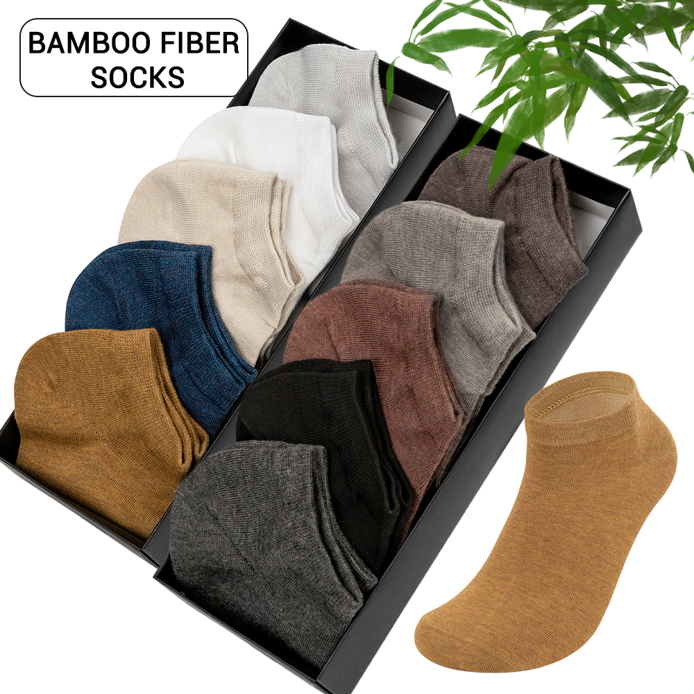 5 Pairs/10 Pairs Brand Bamboo Fiber Men's Socks Breathable Deodorant Summer Invisible Short Socks for Men Ankle Boat Socks title=