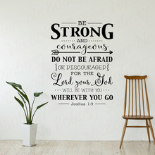 Be Strong and Courageous Wall Decal Quote Bible Verse Christian Decor Stickers Joshua 1:9 for Kids Rooms WL1787