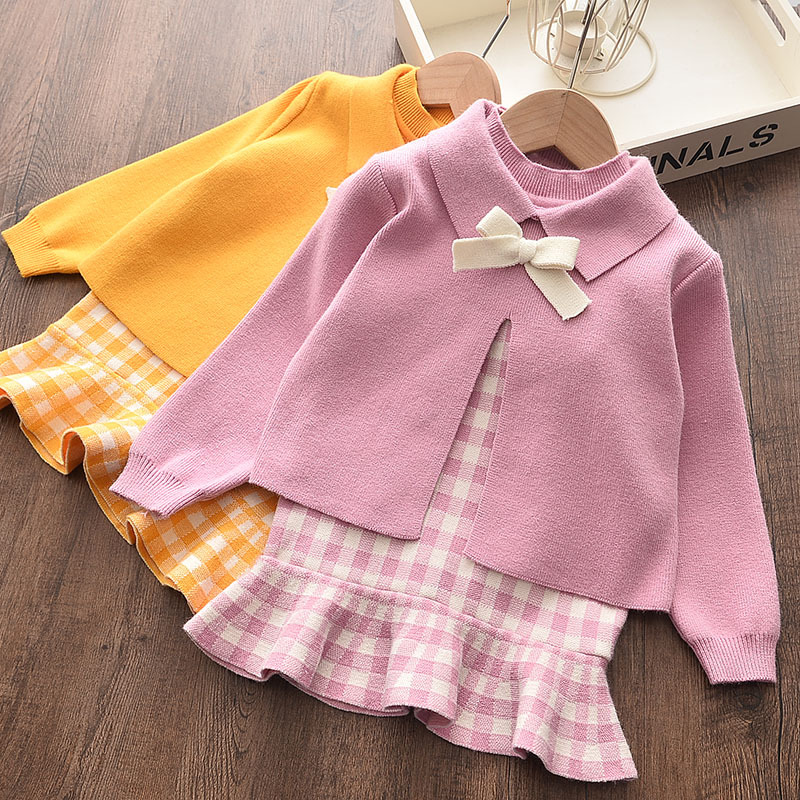 Baby girl clothes autumn and winter knitted sweater two-piece fashion girl plaid print vest sweater skirt baby girl sweater set 2