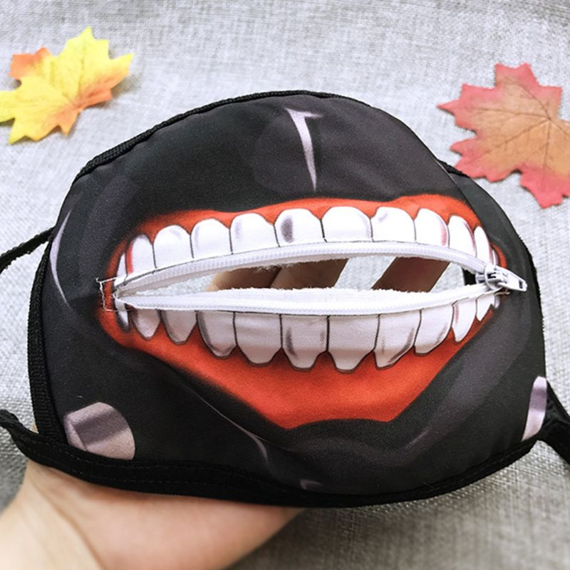 Men Women Anime Anti Dust Mouth Mask Cartoon Zipper Teeth Printed Earloop Respirator Hip Hop Halloween Cosplay Party Costume