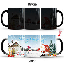 2019 New 350ml Merry Christmas Magic Coffee Mug Temperature Color Changing Mugs Heat Sensitive Cup Tea Milk Creative Gifts