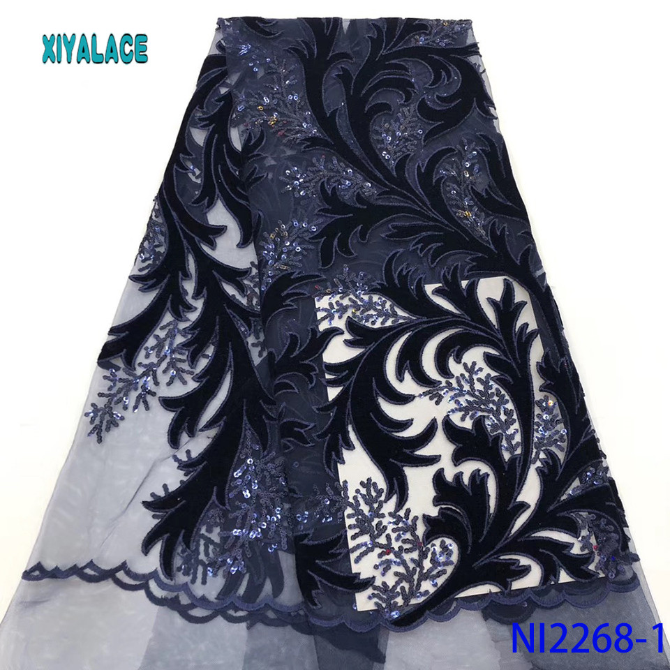 2019 High Quality Latest African Lace Fabric Sequins Lace Fabric French Mesh Lace Fabric Wedding Party Lace Dress  YANI2268-1