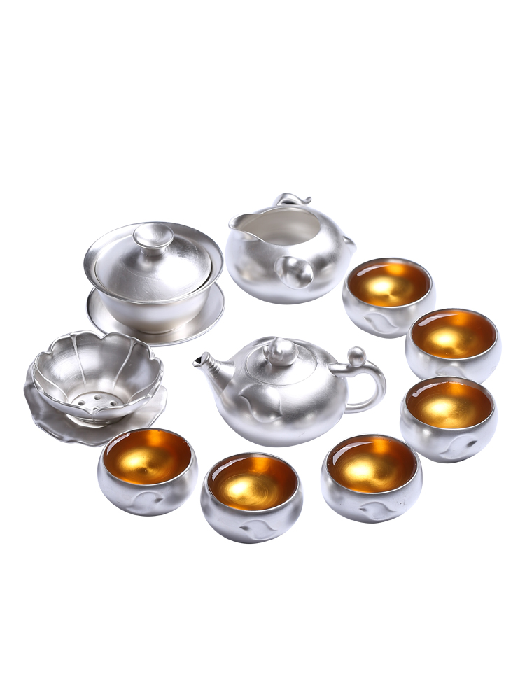 999 Sterling Silver Tea Set Kung Fu Tea Cup Set With Silver Set Tea Home Ceramic Teapot Lid Bowl Gift Box