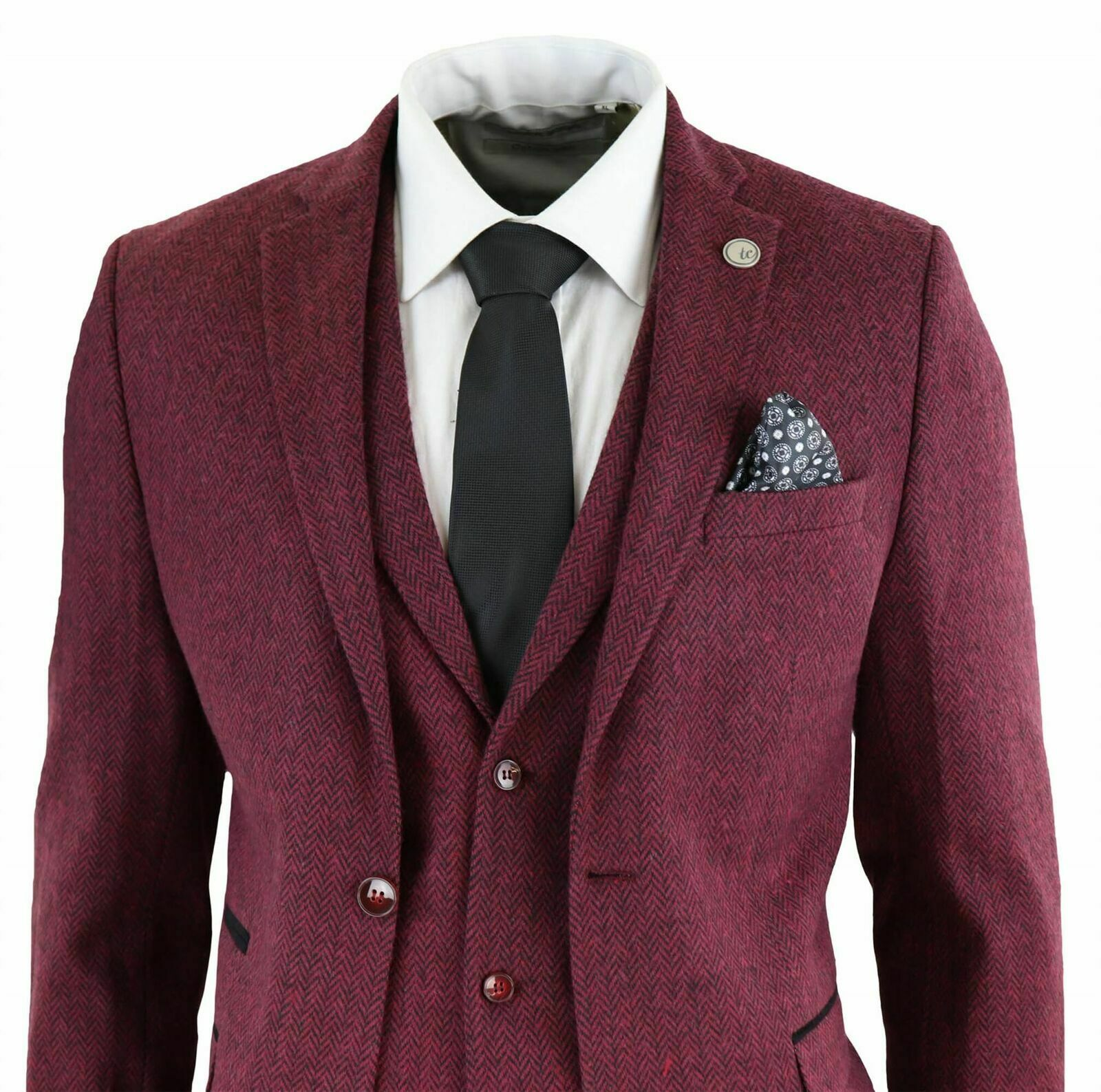 Mens Wool 3 Piece Suit Tweed Burgundy Herringbone Tailored Fit Peaky Blinders