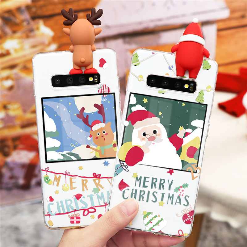 Christmas Cartoon 3D Case For Samsung Galaxy A31 A41 A51 A71 A10 A30 A40 A50 A70 S8 S9 S10 S20 Note 9 10 20 Ultra Plus TPU Cover image