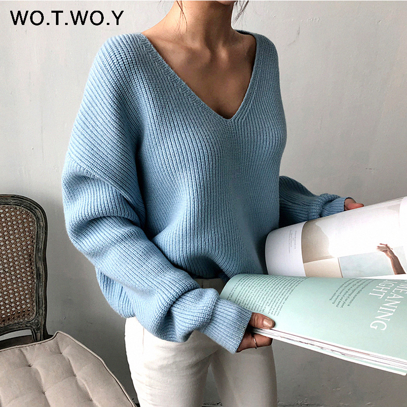 WOTWOY Autumn Winter Basic Knitted Blue White Sweater Women 2020 Fashion Casual V-neck Female Pullovers Korean Lady Jumpers