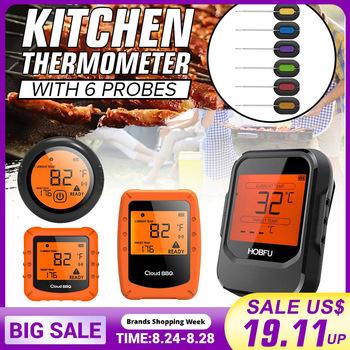 4 0 bezprzewodowy cyfrowy termometr do grillowania bluetooth z 6 sondami kontrola żywności czasomierz kuchenny piekarnik mięso termometr grillowy narzędzie kuchenne tanie i dobre opinie Piekarnik termometry Gospodarstw domowych termometry 6PCS 480g±10g Kitchen Thermometer 2 AAA batteries (Not Included) LCD screen