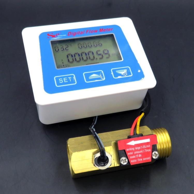 Digital Flow Meter Hall Flow Meter Low Power Digital Flow Sensor Battery-Powered Water Meter