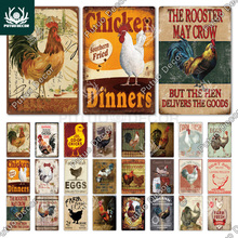 Chicken Tin Sign Vintage Metal Sign Plaque Metal Vintage Farmhouse Wall Decor Rooster Retro Metal Signs(20x30cm)
