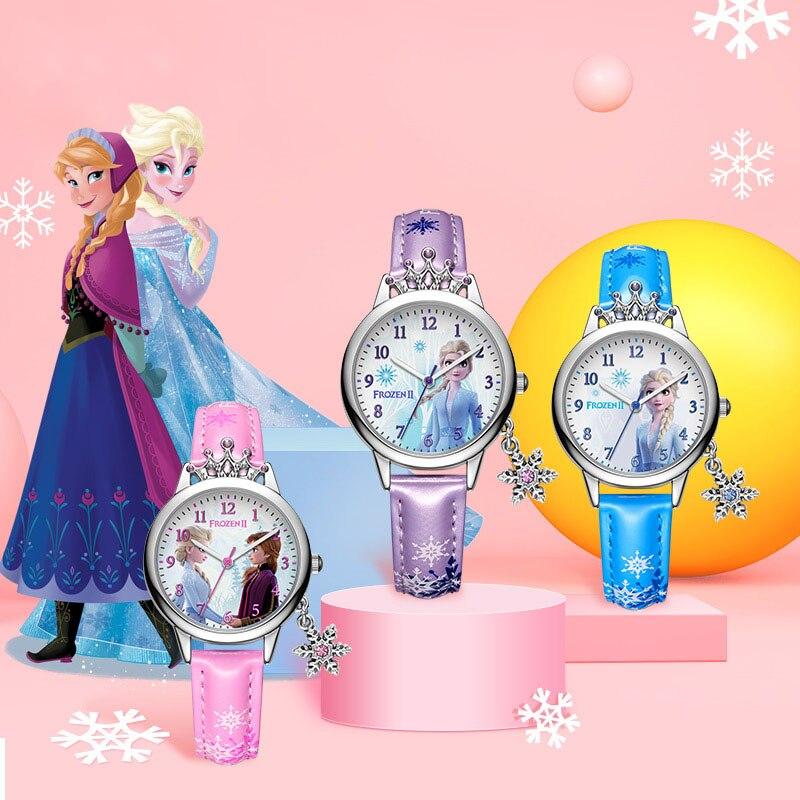 Холодное сердце красивая девушка кварц часы молодые женщины ремешок роскошь корона принцесса часы леди шик кристалл ювелирные изделия часы ребенок% 27 подарки