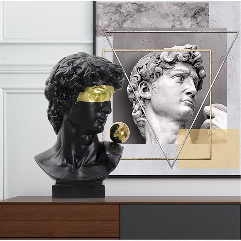 Modern Arts David Statue Abstract Figure Art Sculpture Michelangelo Buonarroti Resin Art&Craft Decorations For Home Gift R4107