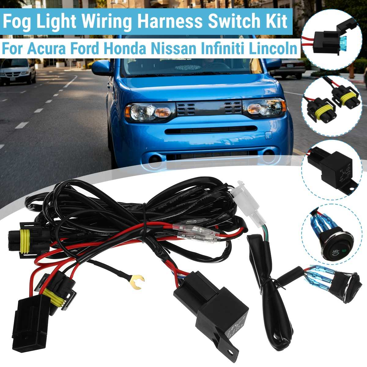 12V H11 Fog Light Lamp Wiring Harness Socket Wire Connector  With 40A Relay LED Work Light Lamp Driving Offroad Universal