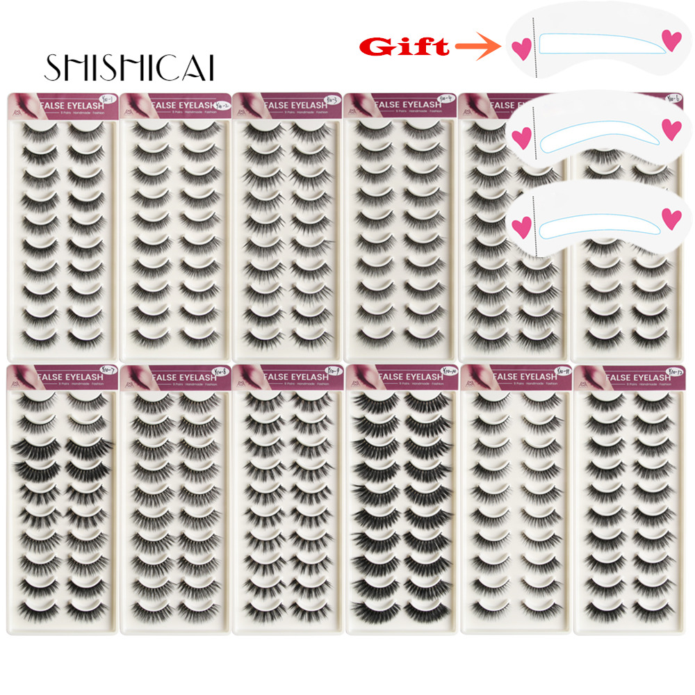 SHISHICAI 1/3/4/5/10Pairs 3D Mink Eyelashes Natural Thick Long False Eyelashes False Lashes Makeup Extension Eyelashes Maquiagem