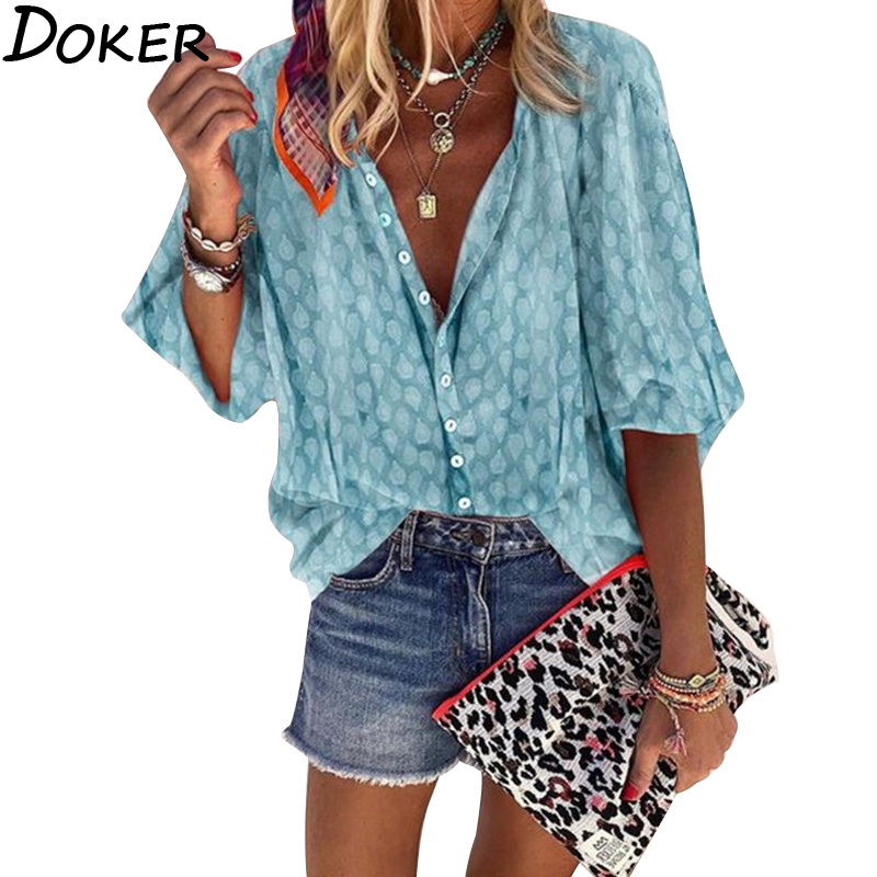 2020 Print Plus Size Womens Tops And Blouses V-neck Long Sleeve Office Blouse Puff Sleeve Fashion Streetwear Women Clothes Shirt