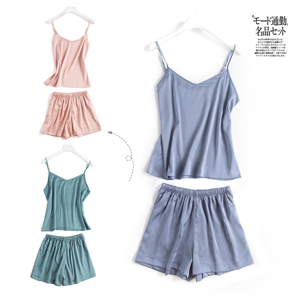 Summer Korean-style Suspender Shorts Two-Piece Set Solid Color Loose Pajamas Viscose Sexy Vest Suit Thin Imitated Silk Fabric