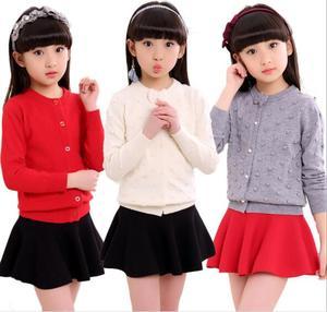 Image 2 - 2020 frühling kinder kleidung mädchen pullover casual feste langarm baby mädchen strickjacke pullover für mädchen große kinder