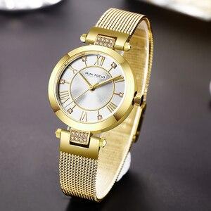 Image 5 - MINI FOCUS Casual Women Watches Rhinestone Design Top Luxury Brand Quartz Clock Simple Dress Ladies Watch Waterproof reloj mujer