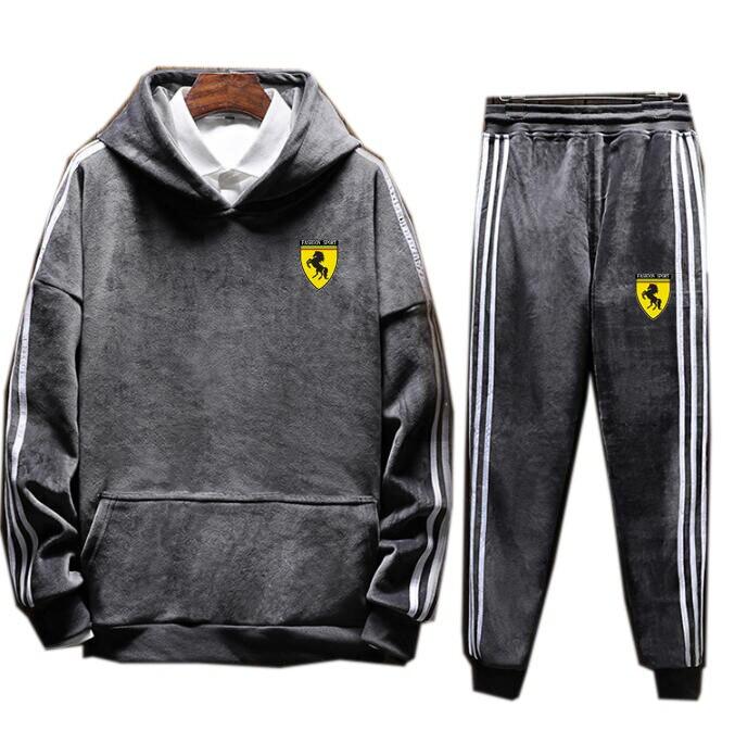 Men's Hoodies Strip Velour Velvet Sport Sweatshirt Tracksuit Track Suit Outwear 2PC Jacket Coat Pants Trousers Sets Outfits